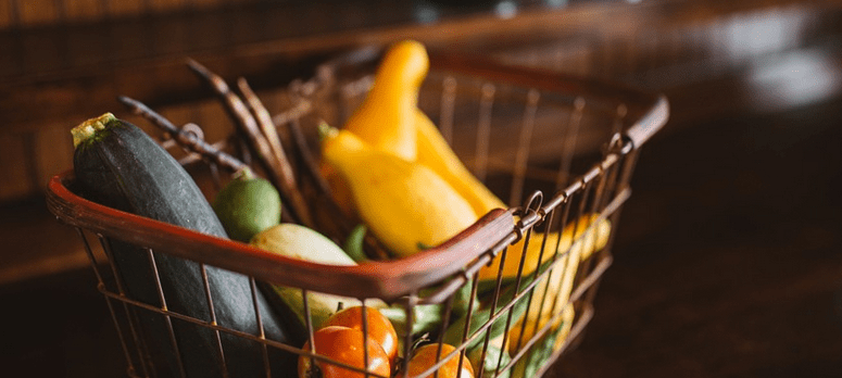 A basket of groceries.